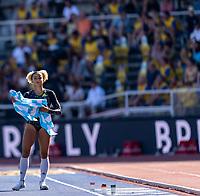4th July 2021; Stockholm Olympic Stadium, Stockholm, Sweden; Diamond League Grand Prix Athletics, Bauhaus Gala; Jazmin Sawyers portrait before her long jump attempt