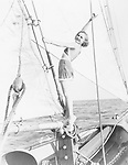 Portrait of woman on sailboat