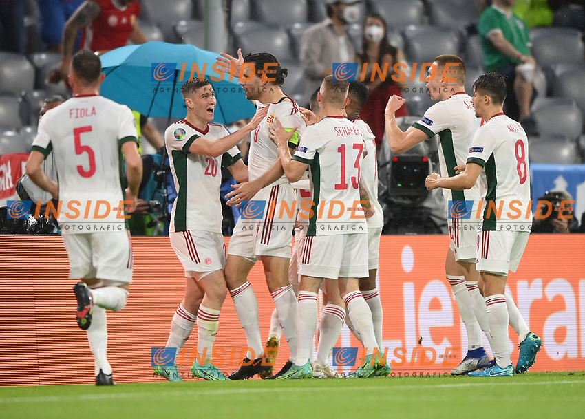MUNICH, GERMANY - JUNE 23: Adam Szalai of Hungary celebrates with Roland Sallai and team mates after scoring their side's first goal during the UEFA Euro 2020 Championship Group F match between Germany and Hungary at Allianz Arena on June 23, 2021 in Munich, Germany. (Photo by Sebastian Widmann - UEFA/UEFA via Getty Images)<br /> Photo Uefa/Insidefoto ITA ONLY