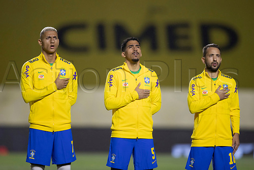 13th November 2020; Morumbi Stadium, Sao Paulo, Sao Paulo, Brazil; World Cup 2022 qualifiers; Brazil versus Venezuela;  Richarlison, Allan and Éverton Ribeiro of Brazil during the anthems