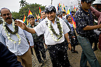 Cochabamba, Bolivia<br /> A picture dated August 11, 2007 shows Bolivian President Evo Morales walking with the Cuban ambassador in the coca growing region of Chapare.