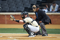 Wake Forest Demon Deacons catcher Brendan Tinsman (9) sets a target as home plate umpire Gregory Street looks on during the game against the Notre Dame Fighting Irish at David F. Couch Ballpark on March 10, 2019 in  Winston-Salem, North Carolina. The Demon Deacons defeated the Fighting Irish 7-4 in game one of a double-header.  (Brian Westerholt/Four Seam Images)