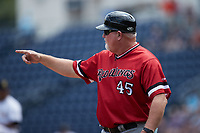 Rochester Red Wings manager Matthew LeCroy (45) coaches third base during the game against the Scranton/Wilkes-Barre RailRiders at PNC Field on July 25, 2021 in Moosic, Pennsylvania. (Brian Westerholt/Four Seam Images)