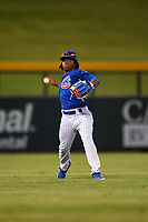 AZL Cubs 1 left fielder Manny Collier (16) throws to the infield during an Arizona League game against the AZL Giants Orange on July 10, 2019 at Sloan Park in Mesa, Arizona. The AZL Giants Orange defeated the AZL Cubs 1 13-8. (Zachary Lucy/Four Seam Images)