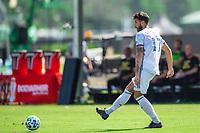 LAKE BUENA VISTA, FL - JULY 16: Mathieu Deplange #17 of FC Cincinnati kicks the ball during a game between FC Cincinnati and Atlanta United FC at Wide World of Sports on July 16, 2020 in Lake Buena Vista, Florida.