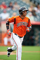 Bowie Baysox first baseman Garabez Rosa (2) runs to first base during the first game of a doubleheader against the Akron RubberDucks on June 5, 2016 at Prince George's Stadium in Bowie, Maryland.  Bowie defeated Akron 6-0.  (Mike Janes/Four Seam Images)