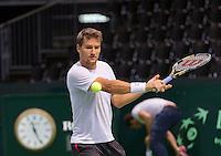 Switserland, Genève, September 16, 2015, Tennis,   Davis Cup, Switserland-Netherlands, Practise Swiss team, Marco Chiudinelli<br /> Photo: Tennisimages/Henk Koster