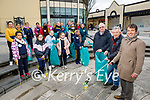 Presentation NS Tralee students members of the Planet Power join with Tidy Tralee Together and are collecting rubbish in the Square on Wednesday morning. Front: John Hickey (Principal) with Joe Moynihan and Tin Guiheen of Tidy Tralee Together.