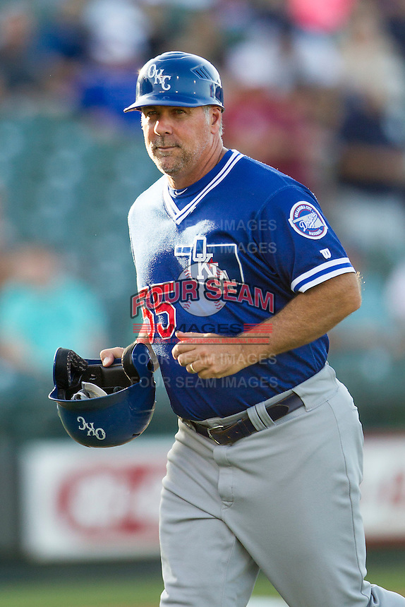 Oklahoma City Dodgers manager Damon Berryhill (55) during the Pacific Coast League baseball game against the Round Rock Express on June 9, 2015 at the Dell Diamond in Round Rock, Texas. The Dodgers defeated the Express 6-3. (Andrew Woolley/Four Seam Images)