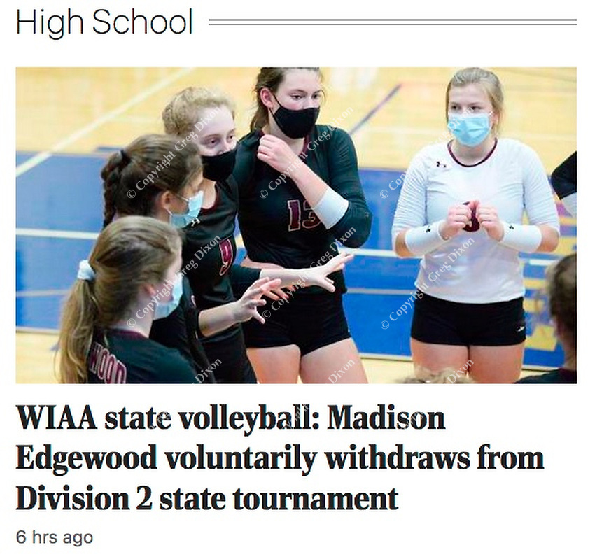 Madison Edgewood High School volleyball team withdraws from Wisconsin state championship tournament due to COVID-19 coronavirus concerns   Madison Edgewood team captain, Ella Foti (9), talks to teammates between games, as Madison Edgewood tops Platteville 3-0 to advance to the Wisconsin state championship tournament, winning their WIAA girls high school volleyball Division 2 state sectional final at Lake Mills High School on Saturday, Oct. 31, 2020   Wisconsin State Journal 11/4/20 article online at https://madison.com/wsj/sports/high-school/volleyball/wiaa-state-volleyball-madison-edgewood-voluntarily-withdraws-from-division-2-state-tournament/article_4410df9d-db0b-5ecf-a893-e191bb6cd7d2.html