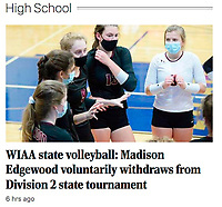 Madison Edgewood High School volleyball team withdraws from Wisconsin state championship tournament due to COVID-19 coronavirus concerns | Madison Edgewood team captain, Ella Foti (9), talks to teammates between games, as Madison Edgewood tops Platteville 3-0 to advance to the Wisconsin state championship tournament, winning their WIAA girls high school volleyball Division 2 state sectional final at Lake Mills High School on Saturday, Oct. 31, 2020 | Wisconsin State Journal 11/4/20 article online at https://madison.com/wsj/sports/high-school/volleyball/wiaa-state-volleyball-madison-edgewood-voluntarily-withdraws-from-division-2-state-tournament/article_4410df9d-db0b-5ecf-a893-e191bb6cd7d2.html