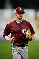 Mahoning Valley Scrappers left fielder Michael Tinsley (15) jogs back to the dugout during a game against the Williamsport Crosscutters on August 28, 2018 at BB&T Ballpark in Williamsport, Pennsylvania.  Williamsport defeated Mahoning Valley 8-0.  (Mike Janes/Four Seam Images)