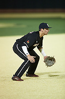 Louisville Cardinals third baseman Ben Metzinger (22) on defense against the Wake Forest Demon Deacons at David F. Couch Ballpark on March 6, 2020 in  Winston-Salem, North Carolina. The Cardinals defeated the Demon Deacons 4-1. (Brian Westerholt/Four Seam Images)