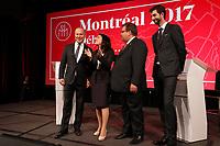 Elections Montréal 2017 : debat francophone a la Chambre de commerce du Montreal métropolitain, jeudi le 19 octobre 2017<br /> <br /> <br /> Anime par François Cardinal, editorialiste en chef et directeur de la section Debats du quotidien La Presse, le debat reuni  les principaux candidats à la mairie de Montreal : Denis Coderre  ainsi que Valerie Plante, cheffe de Projet Montreal. <br /> <br /> <br /> PHOTO :  <br />  -  Agence quebec Presse