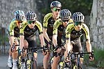 Mitchelton-Scott led by Mikel Nieve (ESP) lead the peloton during Stage 10 of the Vuelta Espana 2020 running 187.4km from Castro Urdiales to Suances, Spain. 30th October 2020.    <br /> Picture: Luis Angel Gomez/PhotoSportGomez | Cyclefile<br /> <br /> All photos usage must carry mandatory copyright credit (© Cyclefile | Luis Angel Gomez/PhotoSportGomez)