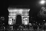 Paris, France on October 2, 2021.  <br /> Arc de Triomphe, wrapped in silver-blue fabric, as it was designed by late artist Christo, as part of the 38th European Heritage Days and the launch of the Cultural Olympiad in Paris; The 50-metre-high Arc de Triomphe in Paris has been wrapped in silvery-blue fabric as a posthumous tribute to Christo, who had dreamt of the project for decades. Bulgarian-born Christo, a longtime Paris resident, had plans for sheathing the imposing war memorial at the top of the Champs-Elysees while renting an apartment near it in the 1960s.
