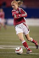 "Denmark's Gitte Andersen. The US Women's National Team tied the Denmark Women's National Team 1 to 1 during game 8 of the 10 game the ""Fan Celebration Tour"" at Giant's Stadium, East Rutherford, NJ, on Wednesday, November 3, 2004.."