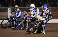 Heat 1: Richard Lawson (blue), Jason Doyle (white) and Peter Karlsson (red) - Lakeside Hammers vs Leicester Lions, Elite League Speedway at the Arena Essex Raceway, Pufleet - 04/04/14 - MANDATORY CREDIT: Rob Newell/TGSPHOTO - Self billing applies where appropriate - 0845 094 6026 - contact@tgsphoto.co.uk - NO UNPAID USE