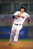 Jupiter Hammerheads shortstop Justin Bohn (10) running the bases during a game against the Palm Beach Cardinals on August 13, 2016 at Roger Dean Stadium in Jupiter, Florida.  Jupiter defeated Palm Beach 6-2.  (Mike Janes/Four Seam Images)