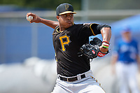 Pittsburgh Pirates relief pitcher Sergio Cubilete (28) delivers a pitch during a Florida Instructional League game against the Toronto Blue Jays on September 20, 2018 at the Englebert Complex in Dunedin, Florida.  (Mike Janes/Four Seam Images)