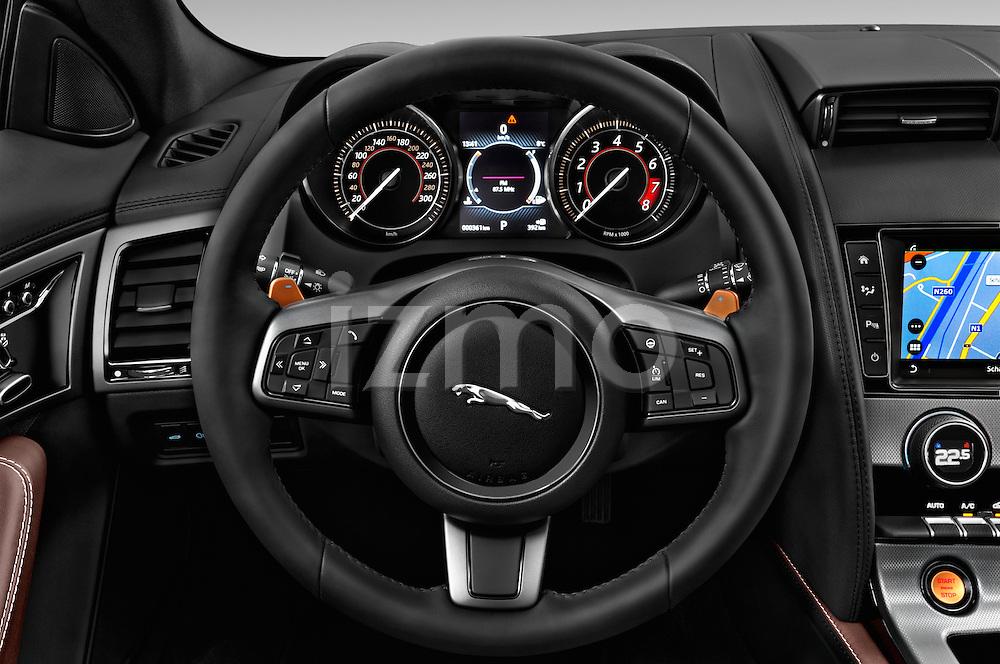Car pictures of steering wheel view of a 2016 Jaguar F Type S 2 Door Convertible Steering Wheel