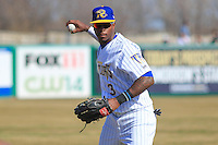 Wisconsin Timber Rattlers outfielder Monte Harrison (3) warms up prior to a game against the Peoria Chiefs on April 12th, 2015 at Fox Cities Stadium in Appleton, Wisconsin.  Peoria defeated Wisconsin 11-1.  (Brad Krause/Four Seam Images)