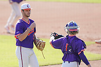Caden Grice (31) of the Clemson Tigers ends a scoreless inning in a fall Orange-Purple intrasquad scrimmage on Saturday, November 14, 2020, at Doug Kingsmore Stadium in Clemson, South Carolina. (Tom Priddy/Four Seam Images)