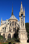 The Fountain of the Virgin in Square Jean XXIII with flying buttresses of Notre Dame Notre-Dame cathedral in the background. city of Paris. Paris. France