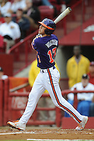 Second Baseman Steve Wilkerson #17 of the Clemson Tigers swings at a pitch during a game against the South Carolina Gamecocks at Carolina Stadium on March 3, 2012 in Columbia, South Carolina. The Gamecocks defeated the Tigers 9-6. Tony Farlow/Four Seam Images.