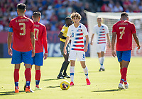 CARSON, CA - FEBRUARY 1: Brenden Aaronson #8 of the United States moves to the ball during a game between Costa Rica and USMNT at Dignity Health Sports Park on February 1, 2020 in Carson, California.