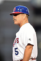 Buffalo Bisons manager Gary Allenson (5) during a game against the Gwinnett Braves on May 13, 2014 at Coca-Cola Field in Buffalo, New  York.  Gwinnett defeated Buffalo 3-2.  (Mike Janes/Four Seam Images)