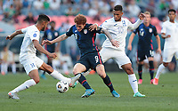 DENVER, CO - JUNE 3: Josh Sargent #9 of the United States turns and moves with the ball during a game between Honduras and USMNT at EMPOWER FIELD AT MILE HIGH on June 3, 2021 in Denver, Colorado.