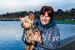 Ann Marie Healy with Rocky the dog enjoying a stroll in the Tralee Bay Wetlands on Friday.