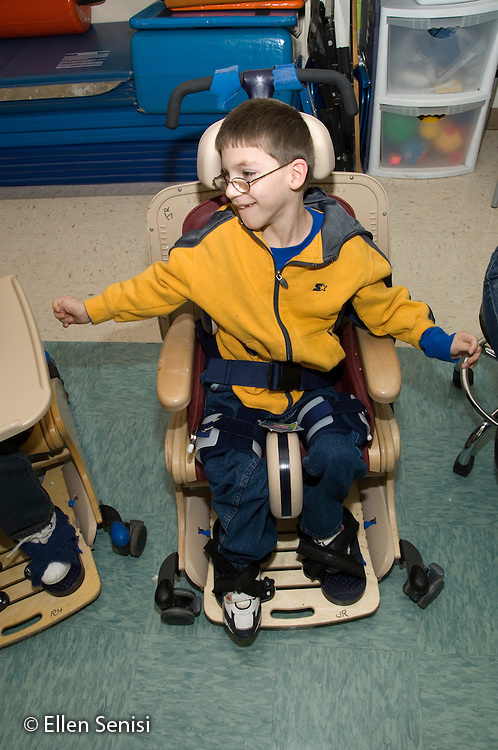 MR / Albany, NY.Langan School at Center for Disability Services .Ungraded private school which serves individuals with multiple disabilities.Portrait of a child in Rifton chair. Boy: 9, cerebral palsy, limited verbal output with expressive and receptive language delays.MR: Rub1.© Ellen B. Senisi