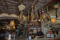Spain, Cadiz, a port city. Local ham hanging in the tapas bar.