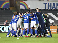 20th March 2021; Liberty Stadium, Swansea, Glamorgan, Wales; English Football League Championship Football, Swansea City versus Cardiff City; Cardiff City players celebrate the 0-1 win