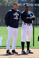 February 25, 2010: Derek Jeter and Curtis Granderson of the New York Yankees during practice at Legends Field in Tampa, FL.  Photo By Mike Janes/Four Seam Images