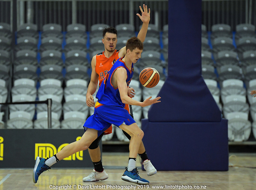 Action from the 2019 Schick AA Boys' Secondary Schools Basketball Premiership National Championship match between Rotorua Boys' High School and Tawa College at the Central Energy Trust Arena in Palmerston North, New Zealand on Monday, 30 September 2019. Photo: Dave Lintott / lintottphoto.co.nz