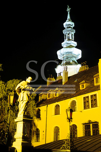 Bratislava, Slovakia; old town with St Michael's Tower floodlit at night.
