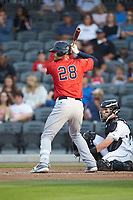 Pedro Castellanos (28) of the Salem Red Sox at bat against the Fayetteville Woodpeckers at Segra Stadium on May 15, 2019 in Fayetteville, North Carolina. The Woodpeckers defeated the Red Sox 6-2. (Brian Westerholt/Four Seam Images)