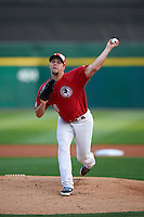 Buffalo Bisons pitcher Andrew Albers (14) delivers a pitch during a game against the Pawtucket Red Sox  on August 28, 2015 at Coca-Cola Field in Buffalo, New York.  Pawtucket defeated Buffalo 7-6.  (Mike Janes/Four Seam Images)