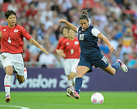 London, England - Thursday, August 9, 2012: The USA defeated Japan 2-1 to win the London 2012 Olympic gold medal at Wembley Arena. Carli Lloyd shoots on goal..