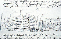 """Karl Friedrich Schinkel:  Hills of Manchester--a page from Diary, 1826.  """"Monstrous masses of red brick, built by a mere foreman..."""""""