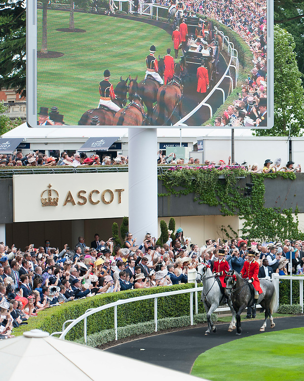General view of the parade ring as Her Majesty the Queen arrives during The Coronation Stakes Day of Royal Ascot 2017 at Royal Ascot Racecourse on Friday 23rd June 2017 (Photo by Rob Munro/Stewart Communications)