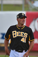 Salt Lake Bees pitching coach Erik Bennett (41) before the game against the Reno Aces in Pacific Coast League action at Smith's Ballpark on July 23, 2014 in Salt Lake City, Utah.  (Stephen Smith/Four Seam Images)