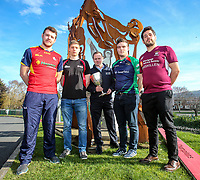 Monday 25th February 2019 | Towns Cup 2019<br /> <br /> Grant Bartley representing Ballyclare RFC, Luke Crozier representing Armagh RFC, Cathal Garvey representing the sponsors River Rock, Michael Treanor representing Clogher Valley RFC and Ryan Cathcart representing Enniskillen RFC at the River Rock Ulster Towns Cup Semi-Final draw which was held at Kingspan Stadium today. Photo by John Dickson / DICKSONDIGITAL