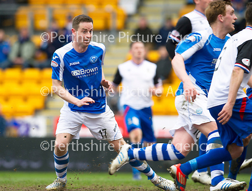 St Johnstone v Inverness Caley Thistle.....27.04.13      SPL.Steven MacLean heads in the only goal.Picture by Graeme Hart..Copyright Perthshire Picture Agency.Tel: 01738 623350  Mobile: 07990 594431