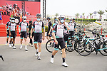 Team BikeExchange at sign on before the start of Stage 5 of the 2021 UAE Tour running 170km from Fujairah to Jebel Jais, Fujairah, UAE. 25th February 2021.  <br /> Picture: Eoin Clarke   Cyclefile<br /> <br /> All photos usage must carry mandatory copyright credit (© Cyclefile   Eoin Clarke)