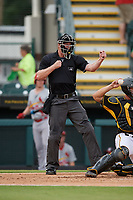 Umpire Louie Krupa calls strike three during a Florida State League game between the Palm Beach Cardinals and Bradenton Marauders on May 10, 2019 at LECOM Park in Bradenton, Florida.  Bradenton defeated Palm Beach 5-1.  (Mike Janes/Four Seam Images)