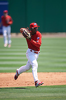 Clearwater Threshers shortstop Malquin Canelo (6) throws to first during a game against the Charlotte Stone Crabs on April 13, 2016 at Bright House Field in Clearwater, Florida.  Charlotte defeated Clearwater 1-0.  (Mike Janes/Four Seam Images)